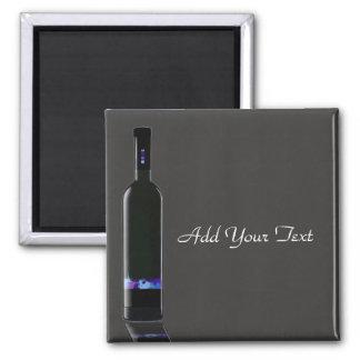 Negocio gris y negro de la botella de vino imán cuadrado