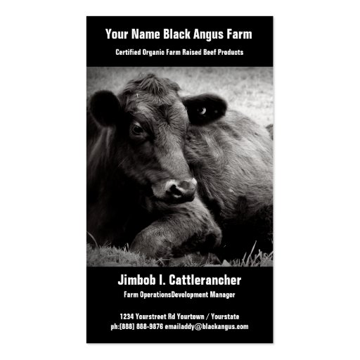 Negocio negro del rancho o de la granja de la tarjetas de visita