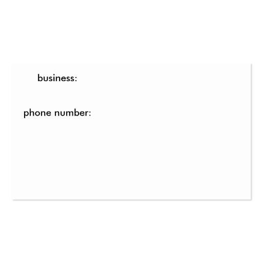 negocio: número de teléfono: tarjetas de visita