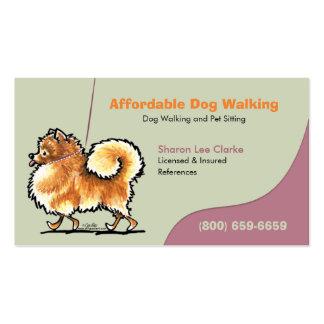 Negocio Pomeranian del mascota del caminante del p Tarjeta De Negocio