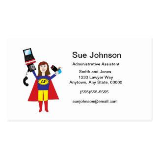Negocio profesional administrativo del superhéroe tarjetas de visita