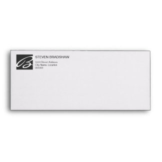 Negocio profesional del gris del monograma sobres