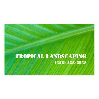 Negocio que ajardina macro de la hoja verde tarjetas de visita