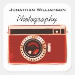 Negocio rojo de la fotografía de la cámara pegatinas cuadradases