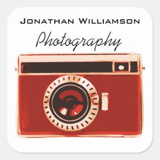 Negocio rojo de la fotografía de la cámara pegatina cuadrada