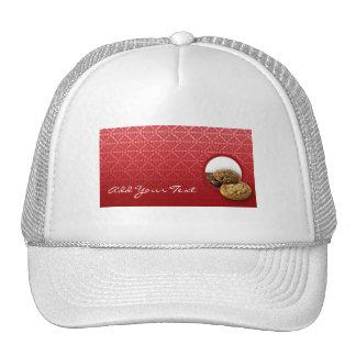 Negocio rojo de los postres del damasco del tercio gorras
