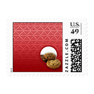 Negocio rojo de los postres del damasco del timbres postales