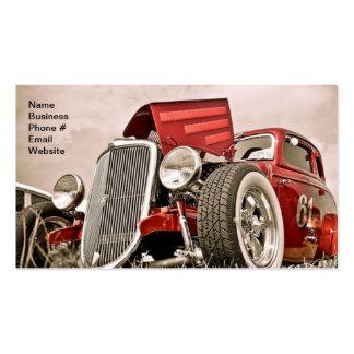 Negocio rojo del coche del colector clásico del tarjetas de visita