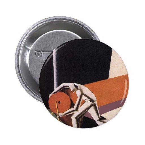 Negocio, telas y materias textiles del art déco pin redondo de 2 pulgadas
