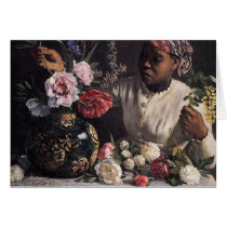 Negress with Peonies Card