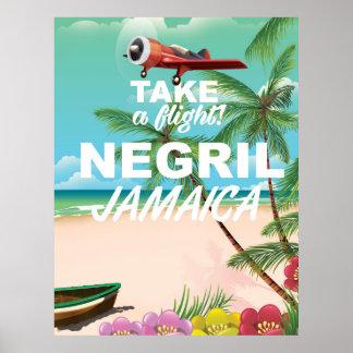 Negril Beach Jamaica vintage travel poster
