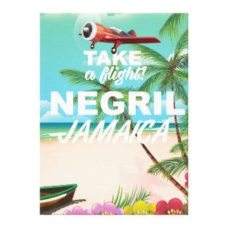 Negril Beach Jamaica vintage travel poster Canvas Print