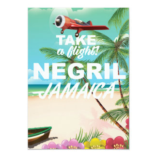Negril Beach Jamaica vintage travel poster Card