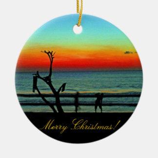 Negril Beach Sunset Ceramic Ornament