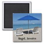 Negril, Jamaica Beach 2 Inch Square Magnet