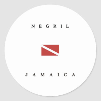 Negril Jamaica Scuba Dive Flag Classic Round Sticker