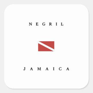 Negril Jamaica Scuba Dive Flag Square Sticker