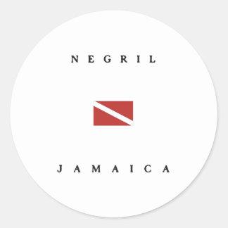 Negril Jamaica Scuba Dive Flag Round Sticker
