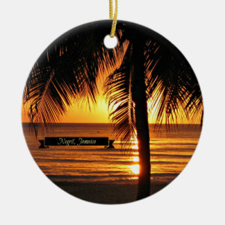 Negril, Jamaica sunset Double-Sided Ceramic Round Christmas Ornament