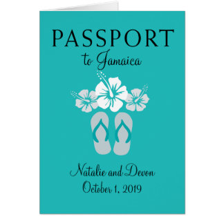 Negril Jamaica Turquoise Wedding Passport Card
