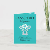 Negril Jamaica Turquoise Wedding Passport Invitation