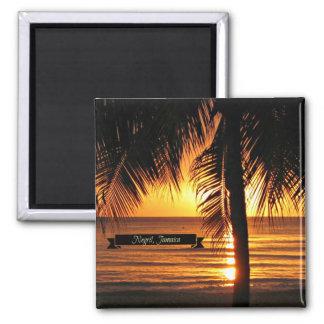 Negril, puesta del sol de Jamaica Imán Cuadrado
