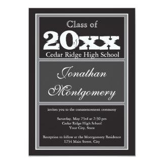 Negro 2014 de las invitaciones de la graduación de comunicado