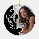 Negro 2015 y plata de la foto de la graduación de adorno navideño redondo de cerámica
