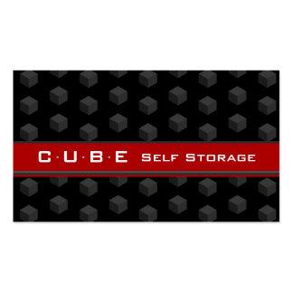 Negro 3D rojo de la caja del cubo de la tarjeta de Tarjeta De Visita