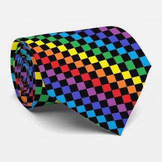 Negro a cuadros del arco iris corbata personalizada