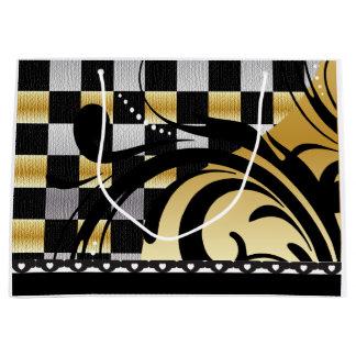 Negro a cuadros del diseño el | del remolino, bolsa de regalo grande