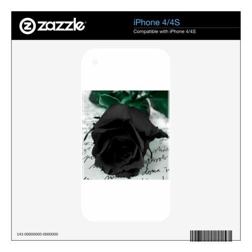 Negro abstracto de la flor subió iPhone 4 skins