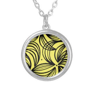 Negro abstracto del amarillo de la expresión de colgante redondo