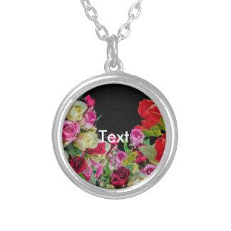 Negro abstracto floral hermoso colgante redondo