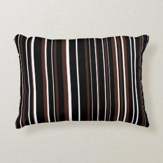 Negro adaptable, Brown, y raya blanca Cojín Decorativo
