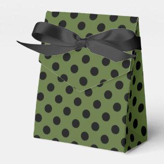 Negro adaptable en lunar del verde verde oliva caja para regalo de boda