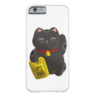 Negro afortunado del gato funda de iPhone 6 slim