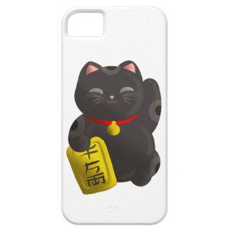 Negro afortunado del gato funda para iPhone SE/5/5s