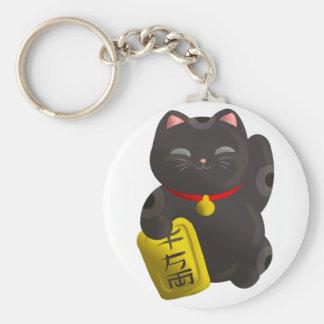 Negro afortunado del gato llavero redondo tipo pin