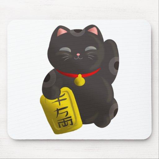 Negro afortunado del gato mousepads
