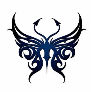 Negro al imán azul de la mariposa fotoescultura vertical