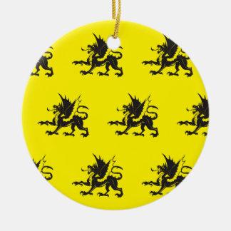 Negro amarillo de los dragones ornamento para reyes magos