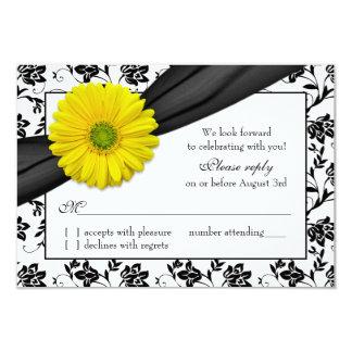 Negro amarillo RSVP que se casa floral blanco de Invitacion Personalizada