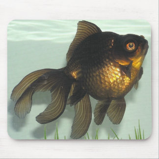 Negro-amarre el Goldfish Tapete De Ratón