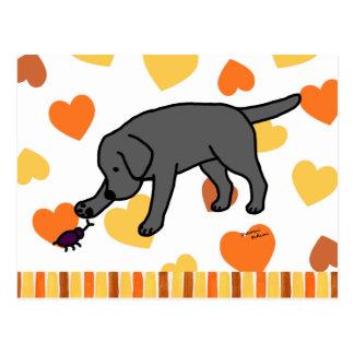 Negro amistoso Labrador del dibujo animado del lab Postales