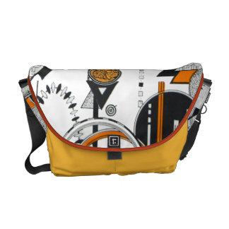 Negro anaranjado 80s del modelo geométrico retro d bolsa de mensajeria
