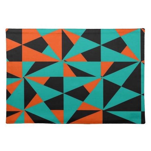 Negro anaranjado del trullo del modelo geométrico  manteles individuales