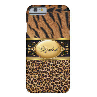 Negro animal 2 del oro del leopardo con clase funda de iPhone 6 barely there
