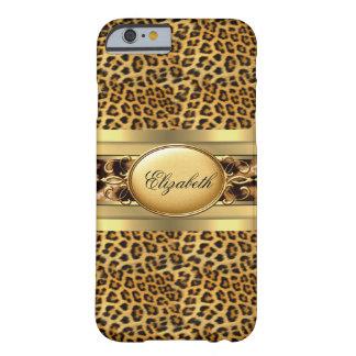 Negro animal del oro del leopardo con clase funda de iPhone 6 barely there
