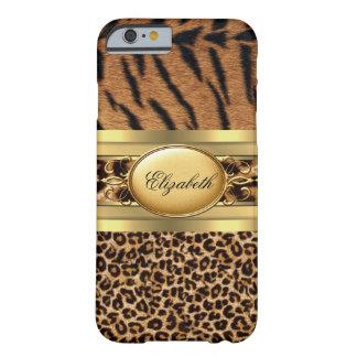 Negro animal del oro del leopardo con clase funda para iPhone 6 barely there